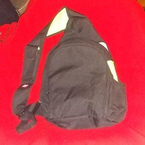 One shoulder black/lime green diaper bag